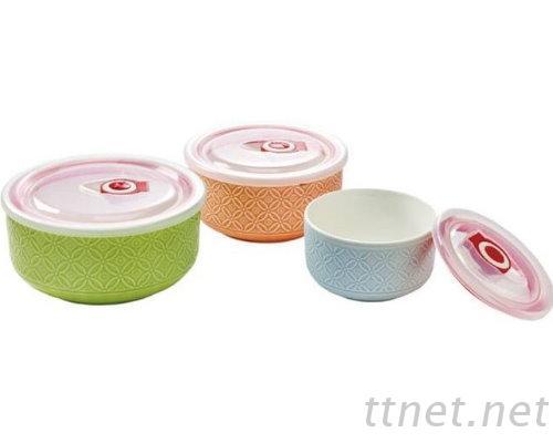 三入保鮮碗(浮雕)